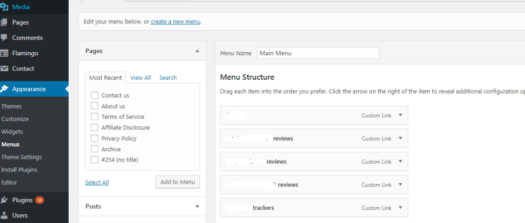 WordPress Blog - Appearance - Menus