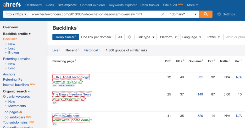 Ahrefs - SEO Tools & Resources To Grow Your Search Traffic. Ahrefs Site Explorer - Backlink Profile - Backlinks.