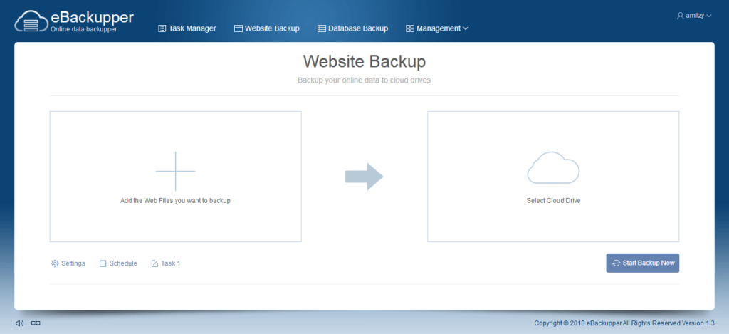eBackupper Online data backupper. Website Backup. Backup your online data to cloud drives. Add the Web Files you want to backup. Select Cloud Drive.