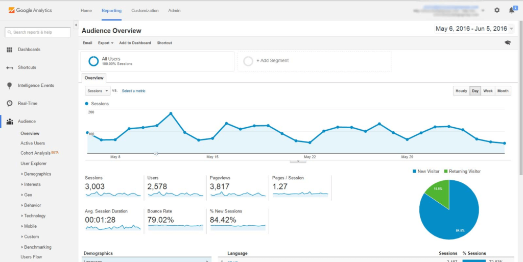 Google Analytics Reporting Audience Overview