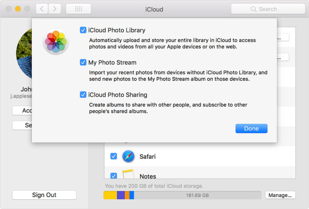 Import photos from iPhone to Mac using iCloud