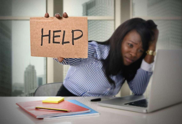 Help woman stressed out at work