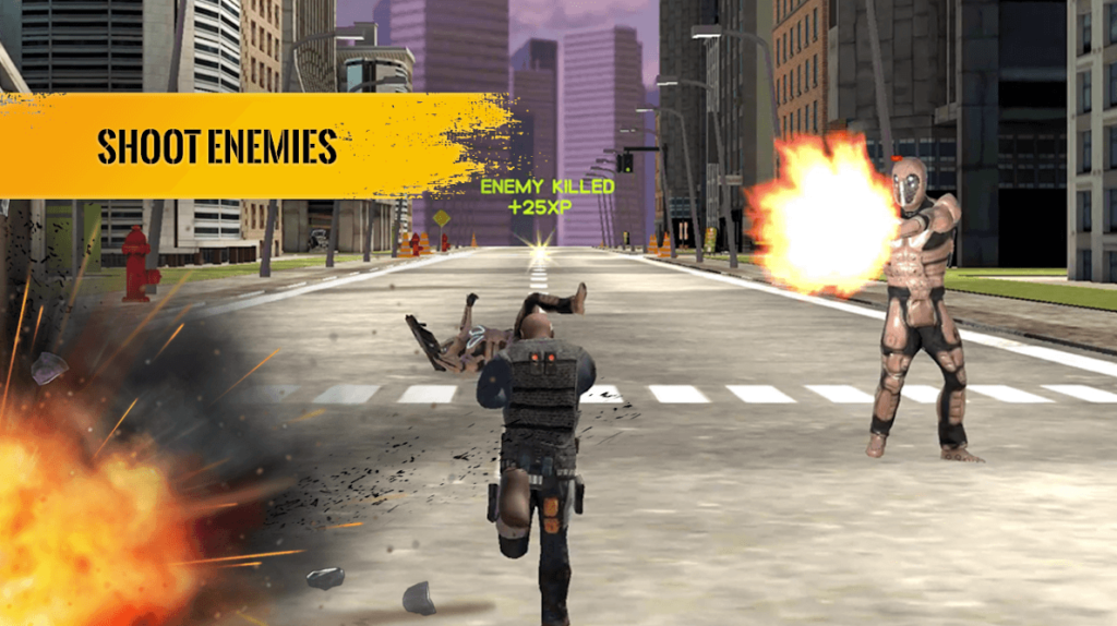 Agent War Origins-Endless Runner and Shooter Game Screenshot. Shoot Enemies