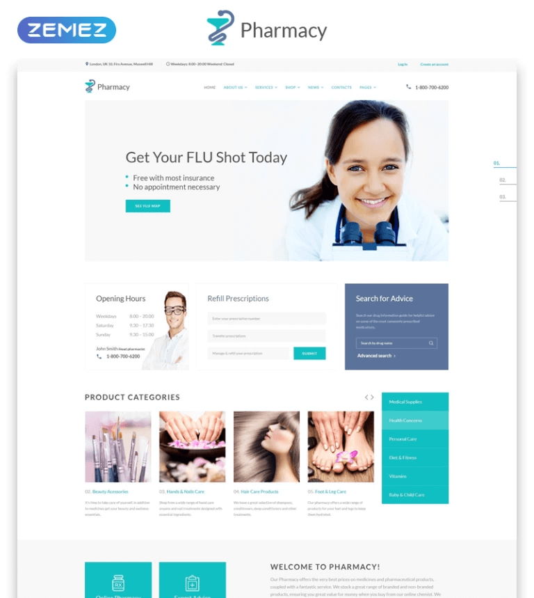 Pharmacy Medical Multipage HTML5 Website Template. Dental Clinic Responsive HTML5 Template