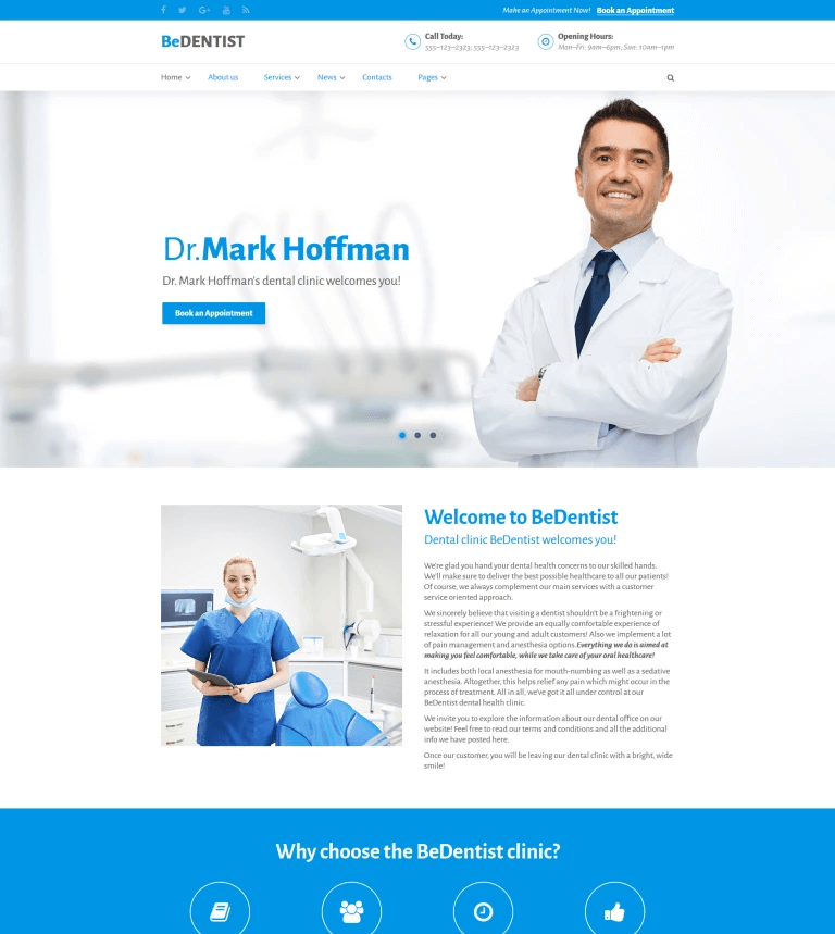 Professional Website Template in Dentistry: BeDentist Website Template.