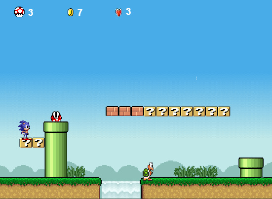 Sonic Lost In Mario World - Play Online