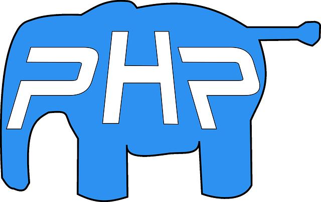 PHP Elephant Logo. PHP Programming Language.
