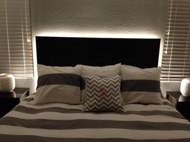 RGB LED Strip Light Behind Bed Headboard - LED Lit Bed Headboard Headboard With LED Lighting