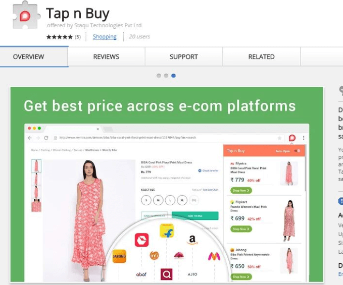 Best Shopping Extension for Chrome: Tap n Buy brings discovery, comparison and savings right at your fingertips!