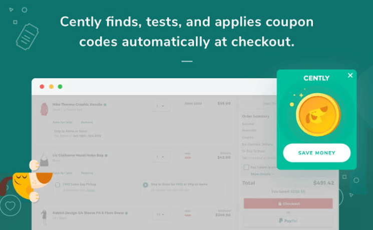 Best Chrome Extension for Online Shopping: Cently Coupons at Checkout. Cently finds, tests, and applies coupon codes automatically at checkout.