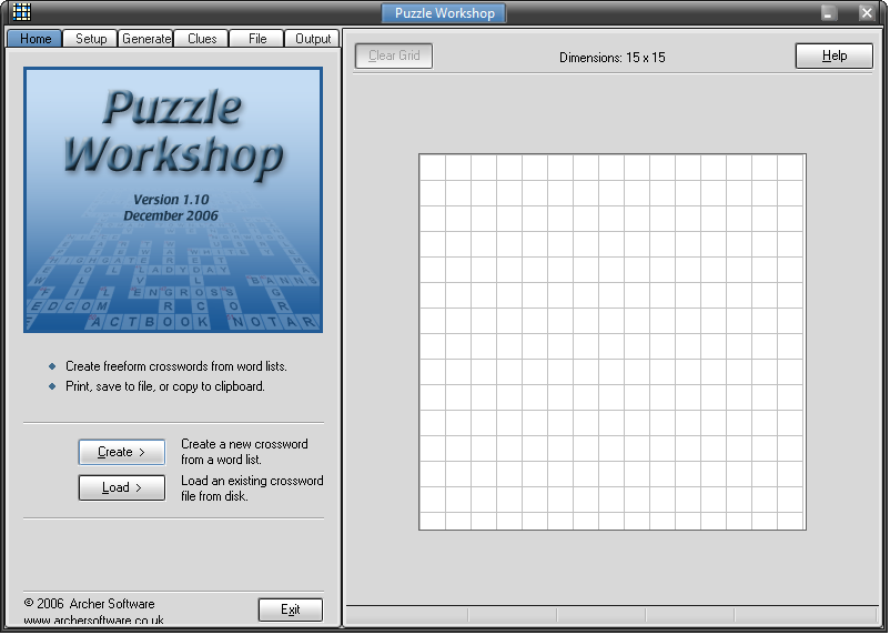 Puzzle Workshop: Free Crossword Puzzle Software. Create a new crossword from a word list.