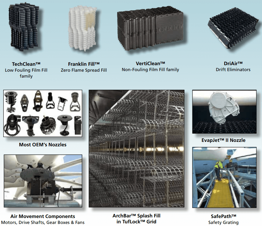 Major parts of cooling tower: TechClean Low Fouling Film Fill, Franklin Fill Zero Flame Spread Fill, VertiClean Non-Fouling Film Fill, DriAir Drift Eliminators, EvapJet Nozzle, Most OEM's Nozzles, Air Movement Components - Motors, Drive Shafts, Gear Boxes & Fans, ArchBar Splash Fill in TufLock Grid, SafePath Safety Grating.