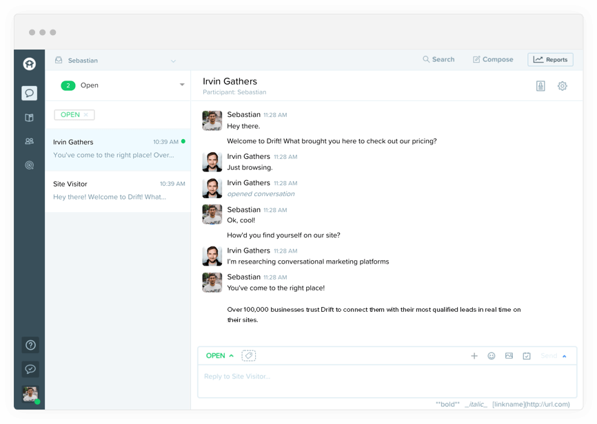 Drift - Chat Software and Conversational Marketing Platform.