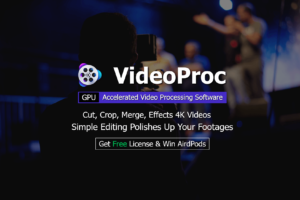 VideoProc GPU Accelerated Video Processing Software. Cut, Crop, Merge, Effects 4K Videos. Simple Editing Polishes Up Your Footages. Get Free License and Win AirPods.