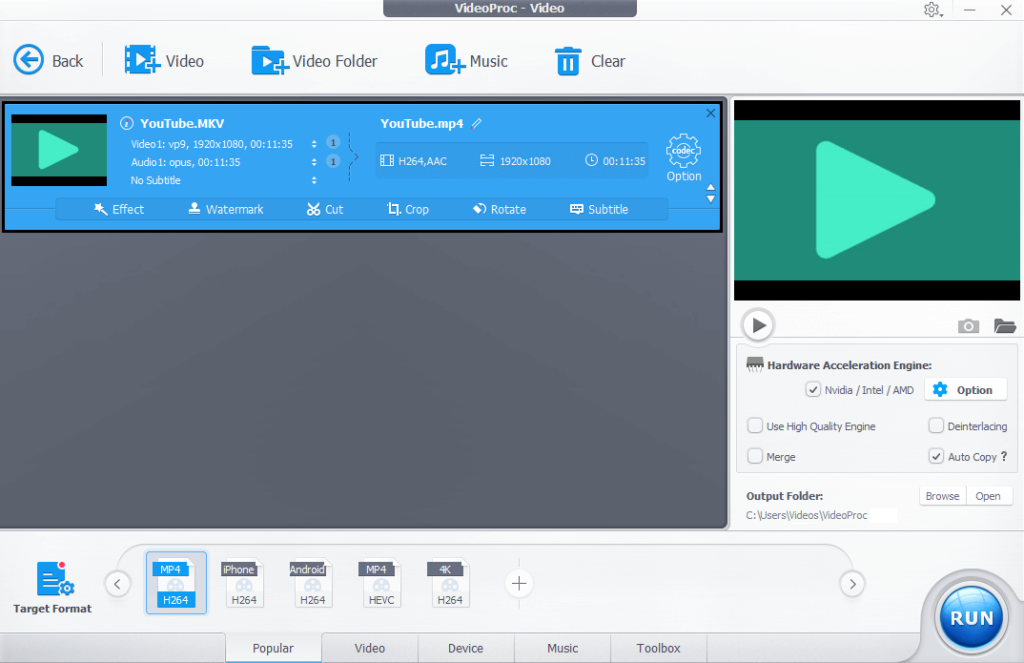 VideoProc Video Converter - Convert Videos to MP4 and other Formats.