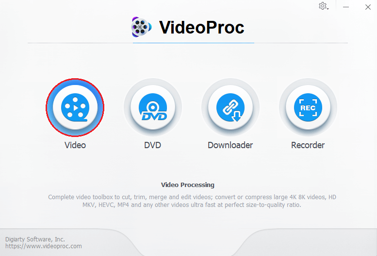 VideoProc Video Processing. Complete video toolbox to cut, trim, merge and edit videos; convert or compress large 4K 8K videos, HD MKV, HEVC, MP4 and any other videos ultra fast at perfect size-to-quality ration.