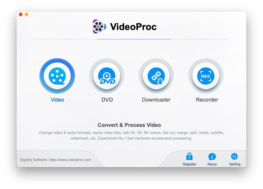 VideoProc Video Processing & Editing Software. Convert & Process Video. Change video & audio formats, resize video files, edit 4K, 5K, 8K videos, like cut, merge, split, rotate, subtitle, watermark, etc. No.1 fast hardware-accelerated processing.