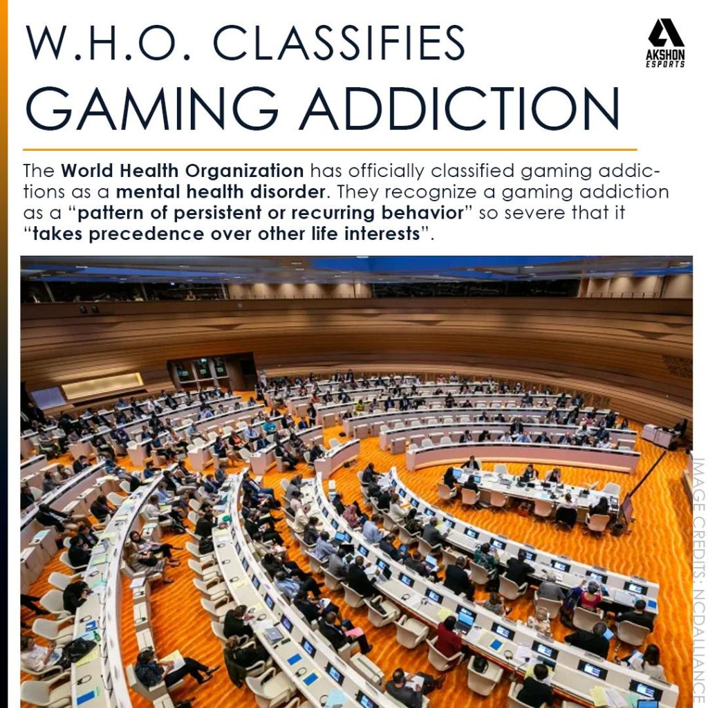 "W.H.O. Classifies Gaming Addiction. The World Health Organization has officially classified gaming addictions as a mental health disorder. They recognize a gaming addiction as a ""pattern of persistent or recurring behavior"" so severe that it ""takes precedence over other life interests""."