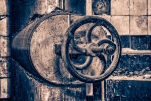 Industrial Valve, wheel, old, metal, factory, industrial plant, lock, rust, turn, handwheel, cast, rusty, boiler house, nostalgia, close up, corrosion, free image.
