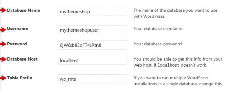 Fill the Essential Details in WordPress: Database Name, Database Username, Database Password, Database Host, Table Prefix.