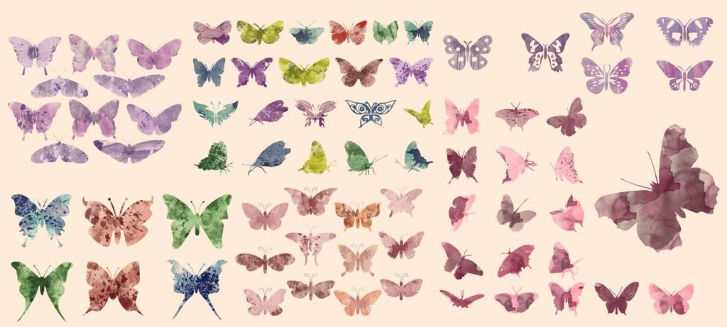 80 Watercolor Butterfly Clipart Set.