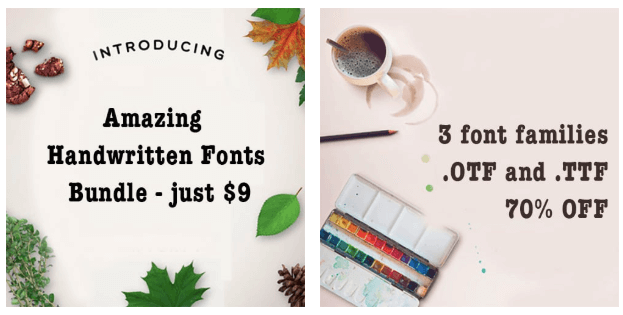 Introducing Amazing Handwritten Fonts Bundle – just $9 | 3 font families .OTF and .TTF 70% OFF