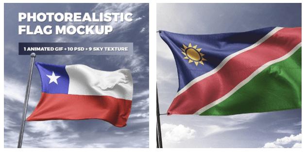 Photorealistic Flag MockUp - 1 Animated GIF + 10 PSD + 9 Sky Textures.