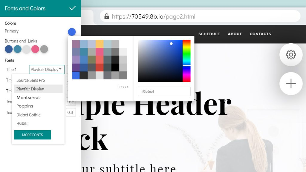 8b Website Builder. Edit Website Styles - Fonts and Colors.