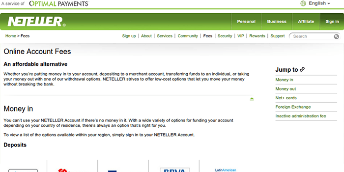 Neteller Online Account Fees