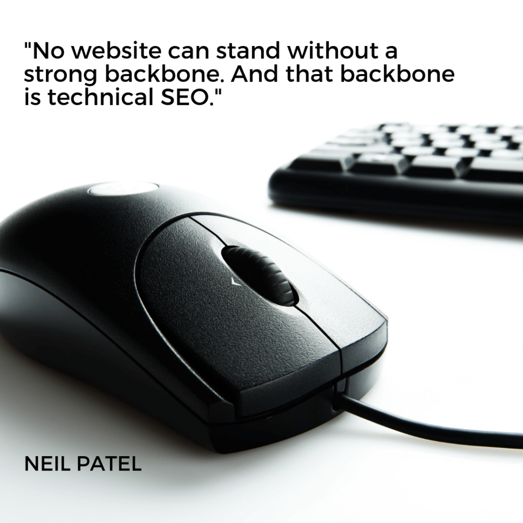 """No website can stand without a strong backbone. And that backbone is technical SEO."" – Neil Patel"