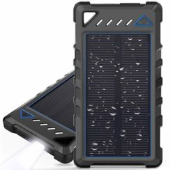 BEARTWO 10000mAh Solar Power Bank with Flashlight. Portable Solar Charger with Dual USB Ports.