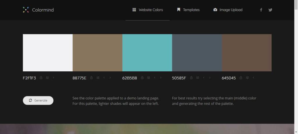Colormind: Generate Website Colors