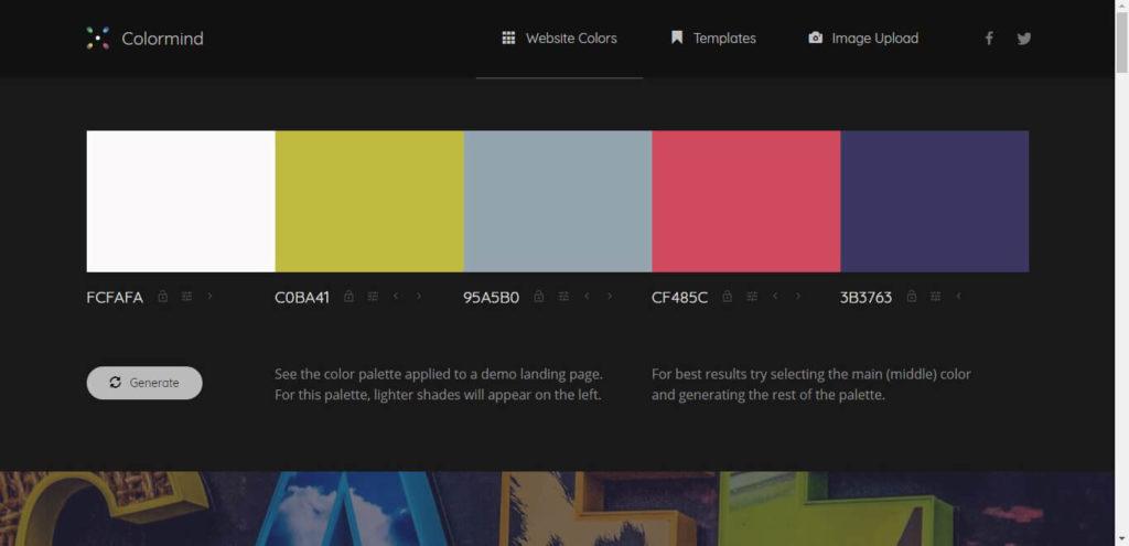Colormind Website Colors