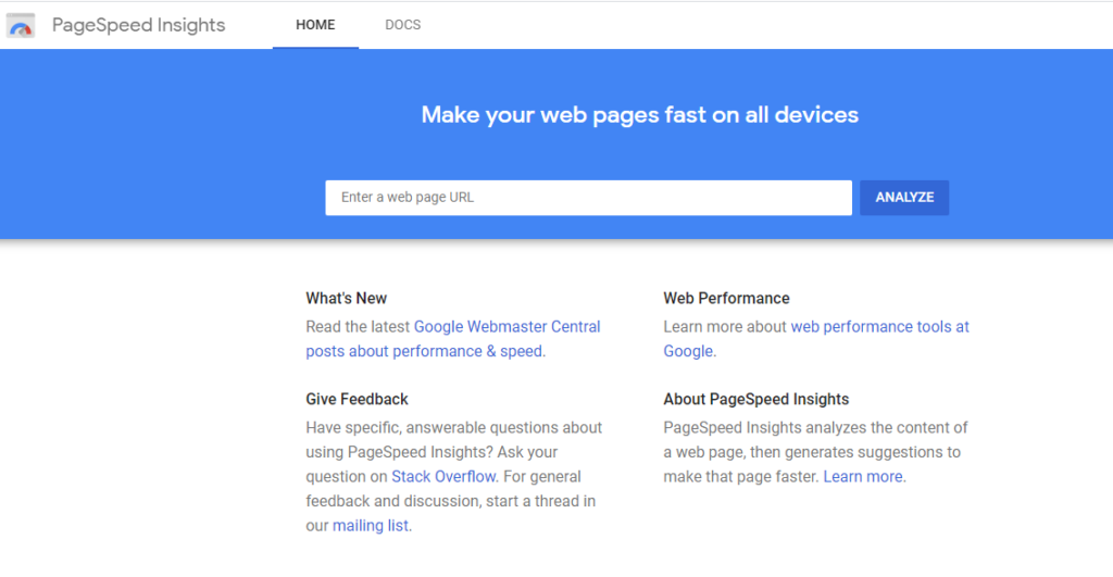 PageSpeed Insights - Google Developers.