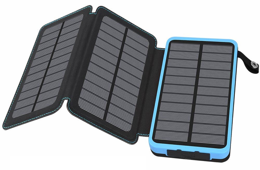 Hiluckey 24000mAh Portable Solar Power Bank with 3 Solar Panels.