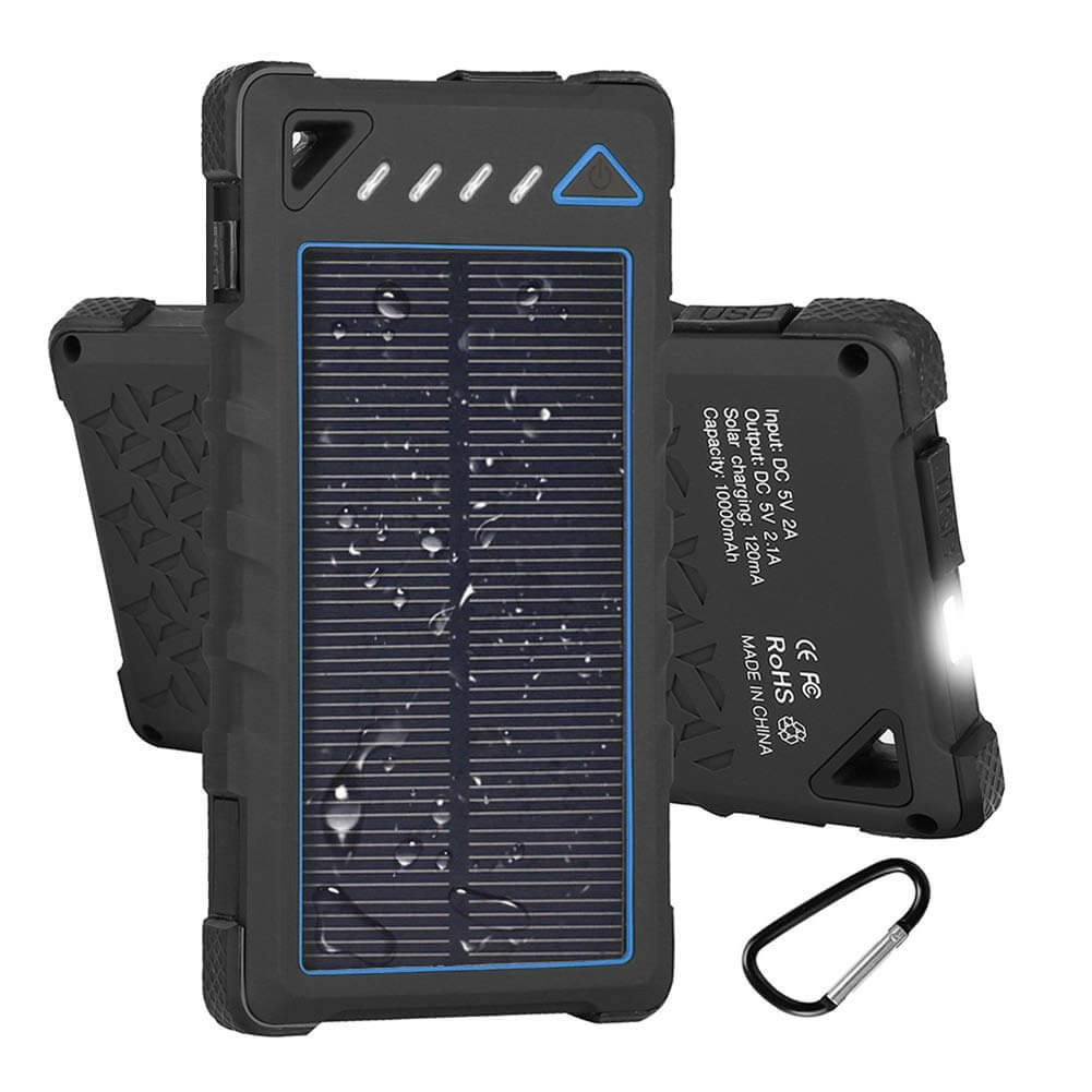 Hobest Solar Charger 10000mAh, Waterproof Solar Power Bank with LED Flashlight and Dual USB Output.