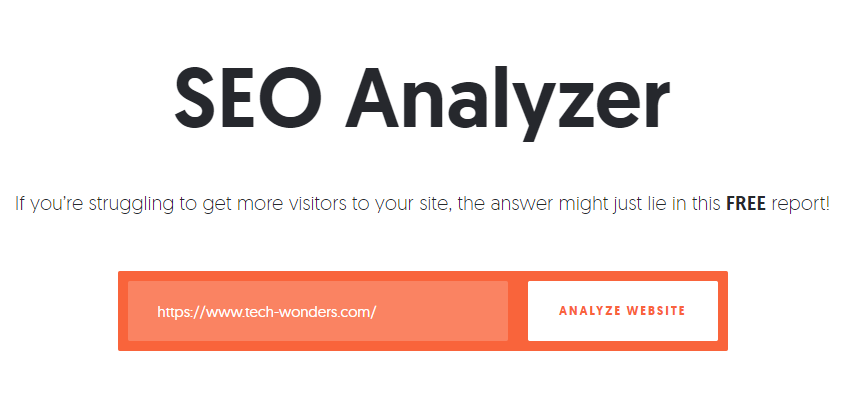 Neil Patel's SEO Analyzer. If you're struggling to get more visitors to your site, the answer might just lie in this FREE report! Analyze Website.