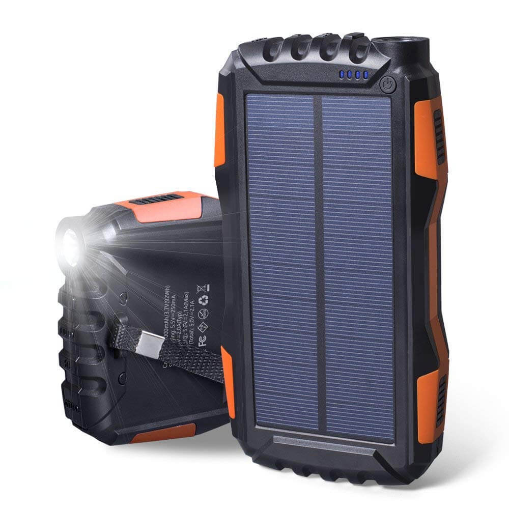 Soluser 25000Mah Portable Solar Power Bank with Strong LED Light.