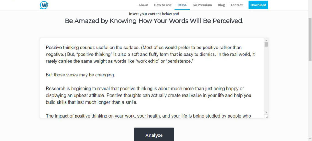Watsonfinds: Insert Your Content and  Be Amazed by Knowing How Your Words Will Be Perceived.