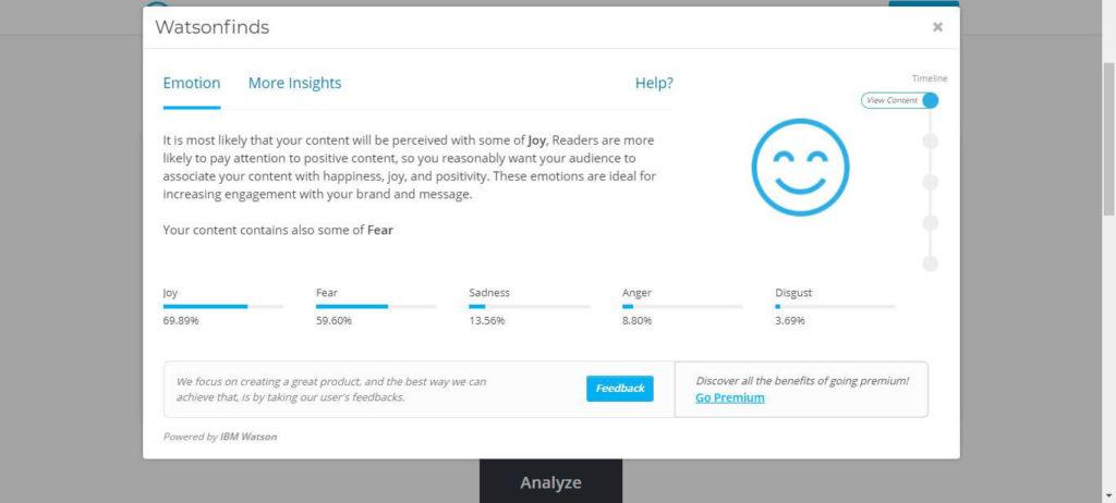 Watsonfinds Analyze Content Powered by IBM Watson AI