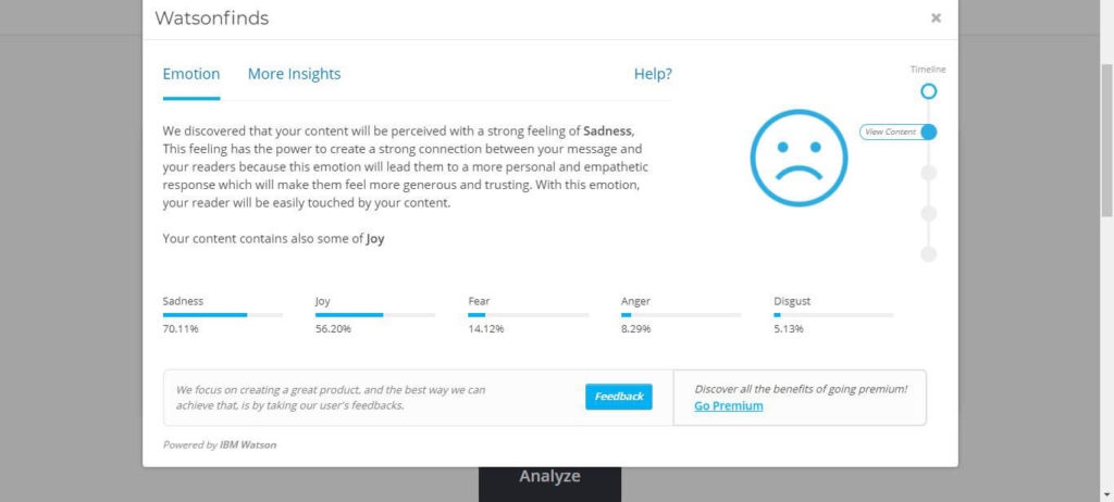 Watsonfinds Powered by IBM Watson AI Determines Most Likely Emotional Response From Readers of Your Content