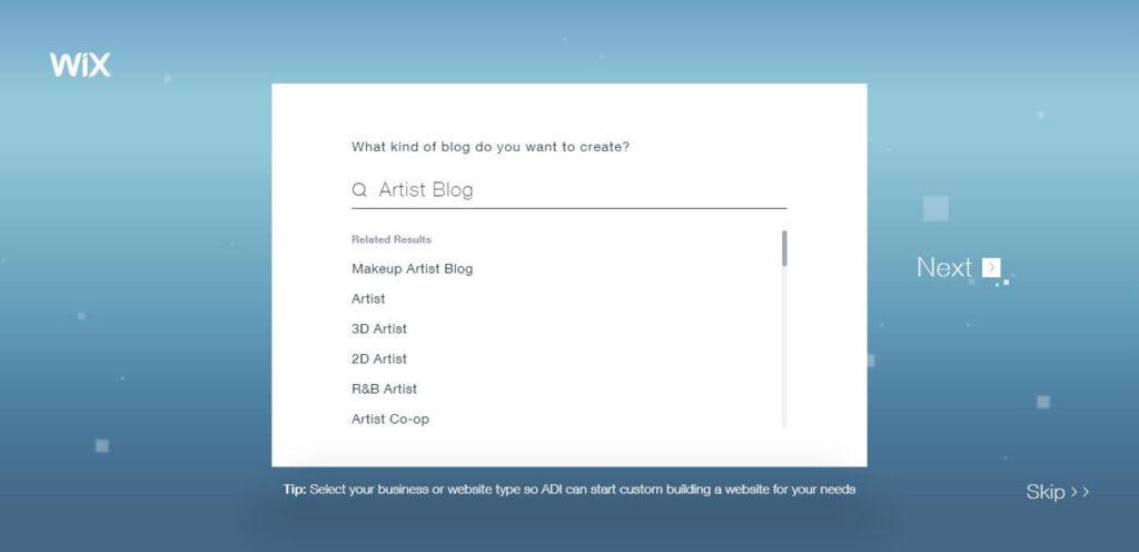 Wix ADI: Create Artist Blog.