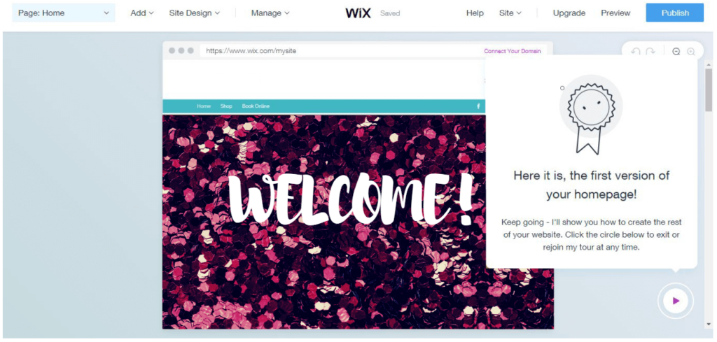 Your Wix Website Homepage.