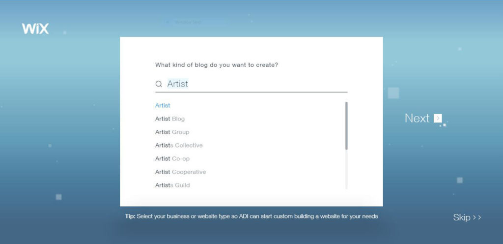 Select your business or website type so Wix ADI can start custom building a website for your needs.