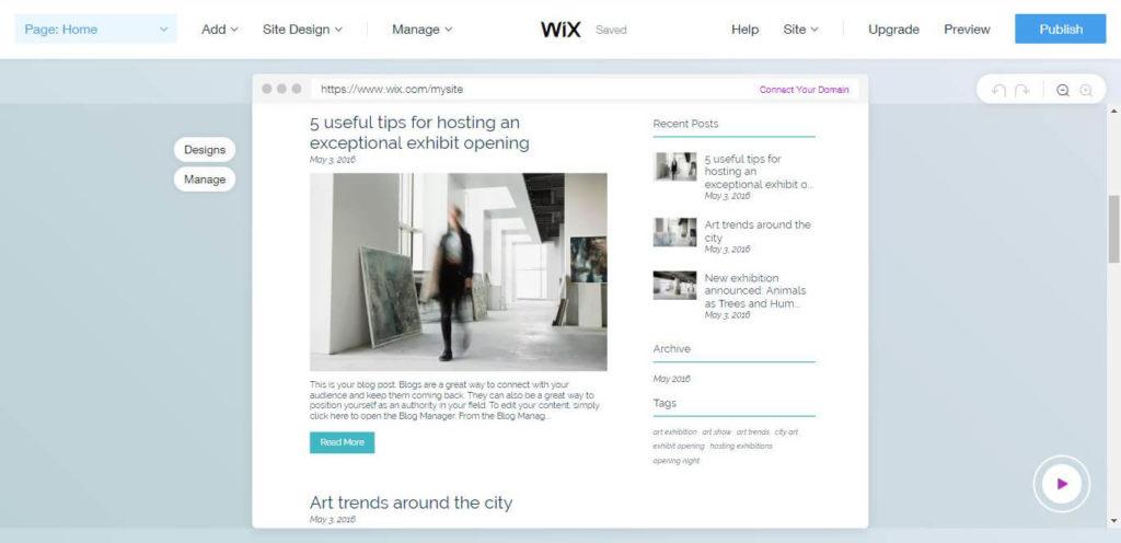 Wix Website Design Home Page.