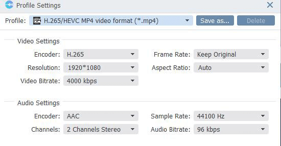 VideoSolo BD-DVD Ripper Output Profile Settings, Video Settings, Audio Settings.