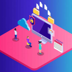 Computer Backup Technology Isometric Illustration