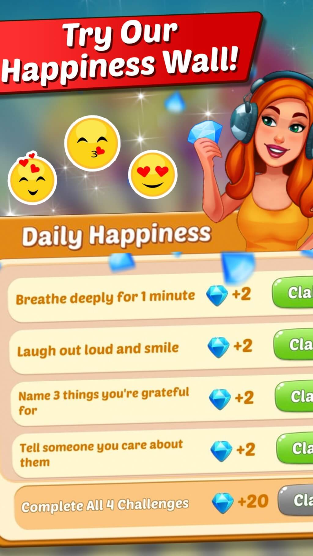 Cooking Crush Cooking Game Happiness Wall Daily Happiness Challenges.
