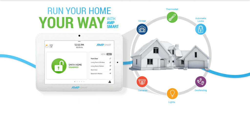 Smart Home Security and Home Automation System Provider - AMP Smart. Run Your Home Your Way With AMP Smart. Automatic Locks, Lights, Garage, Thermostat, Cameras and Geofencing.