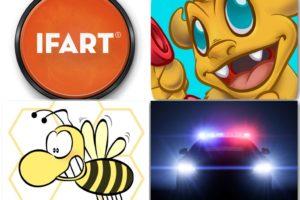 Best Prank Apps: iFart Fart Sounds Prank App, Hilarious Prank Calls App, Bee Swatter Prank Game App, Police Siren App.